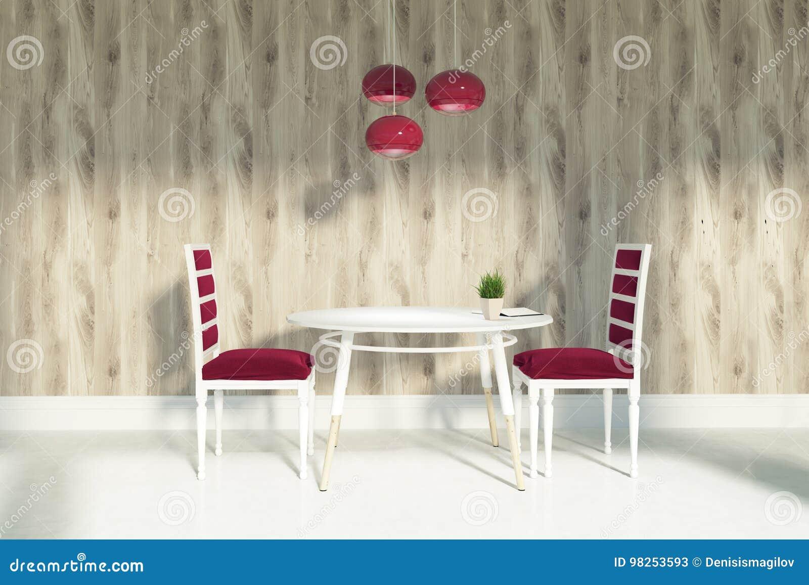Sedie Rosse Ikea : Sala da pranzo con le sedie rosse e le pareti di legno