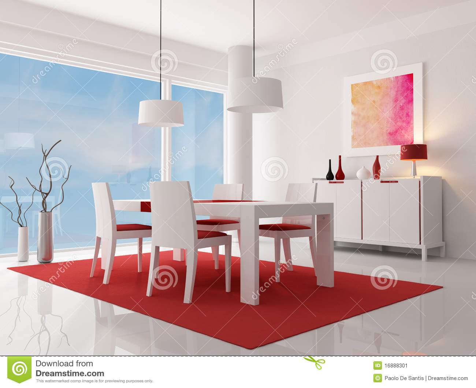 La Sala Da Pranzo Moderna Bianca E Rossa Rappresentazione L'opera  #B01B54 1300 1078 Sala Da Pranzo Arte Contemporanea