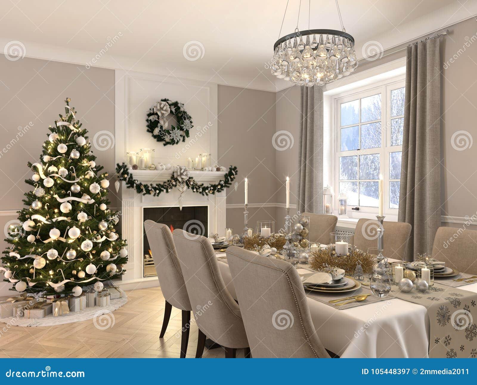 Decorazioni Sala Natale : Sala da pranzo di lusso con la decorazione di natale di giorno