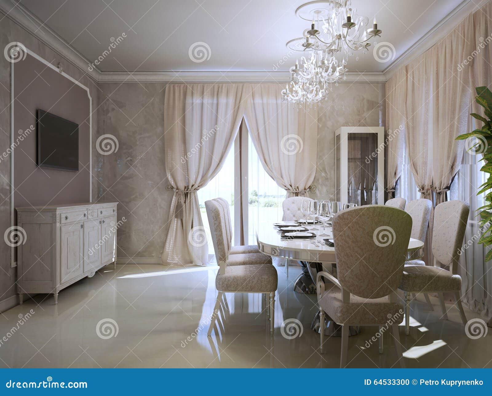 Sala Da Pranzo Di Lusso Nello Stile Di Art Deco Fotografia Stock ...