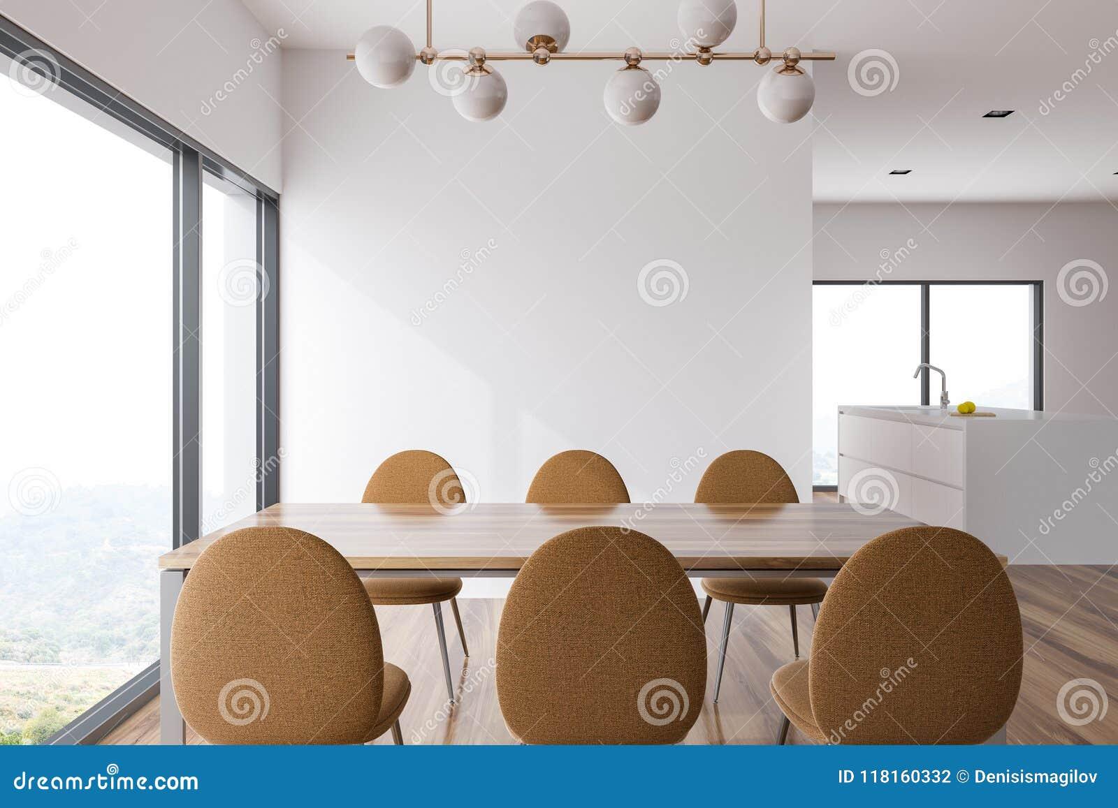 Sala da pranzo e cucina bianche e di legno montagna illustrazione