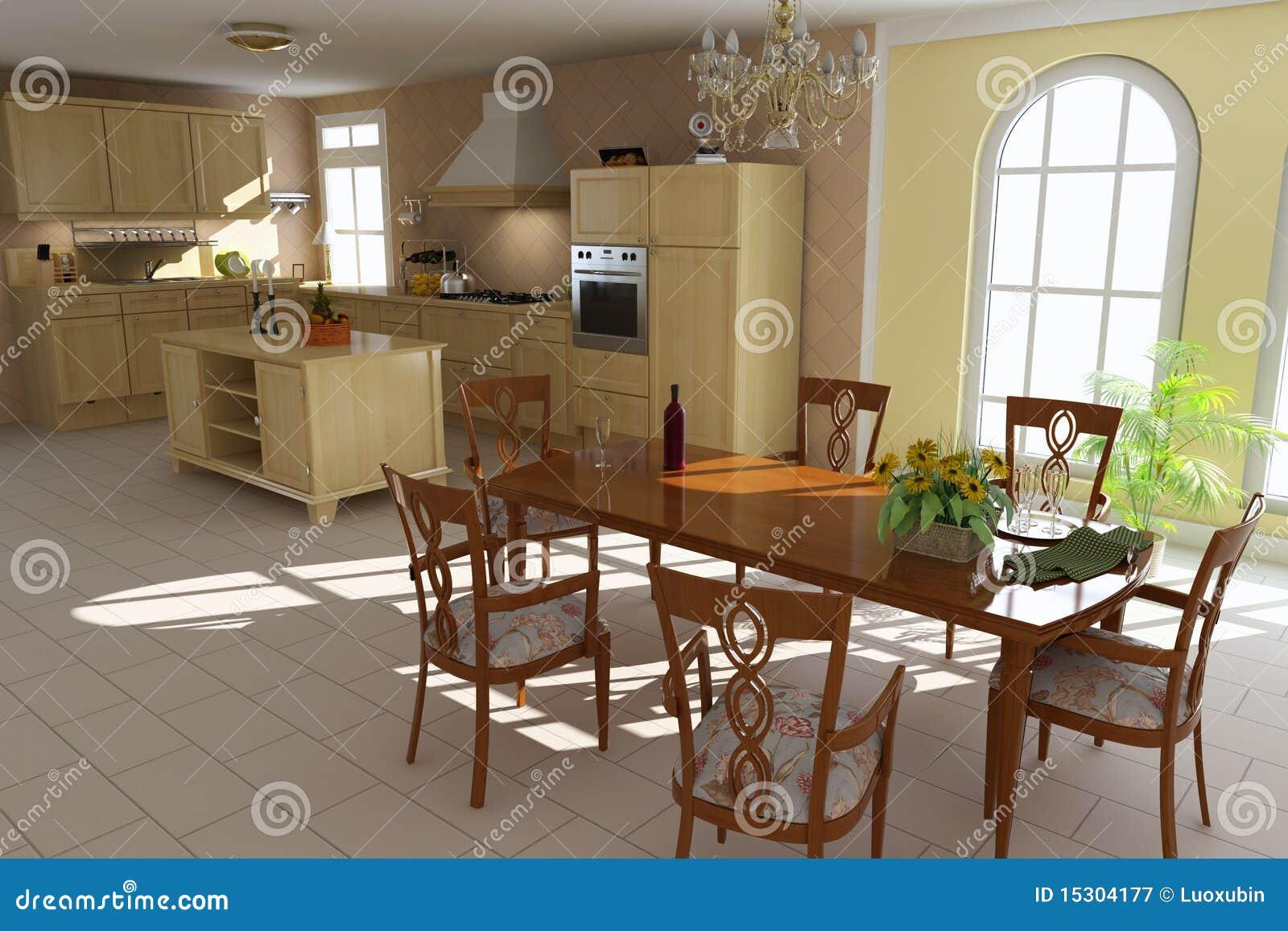 Sala da pranzo e cucina classiche fotografia stock libera - Sala e cucina ...