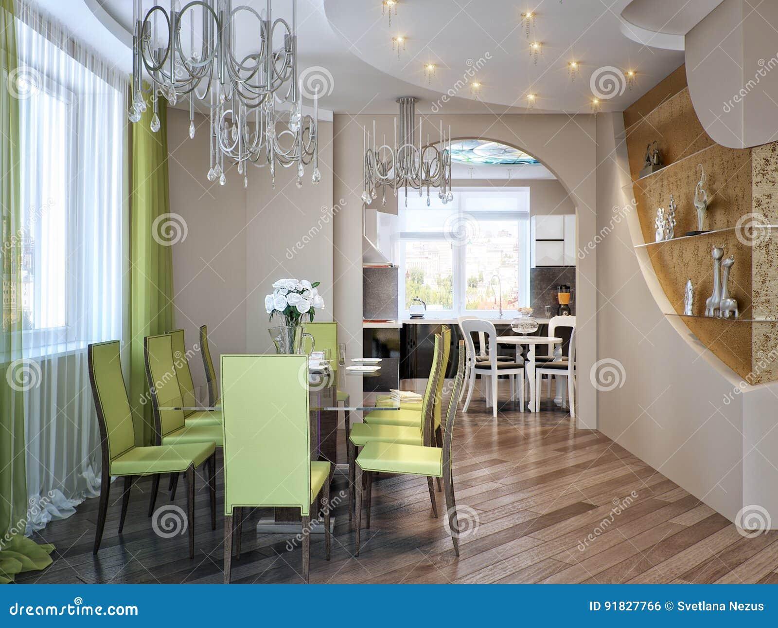 Sala Da Pranzo E Cucina Contemporanee Urbane Moderne Illustrazione ...
