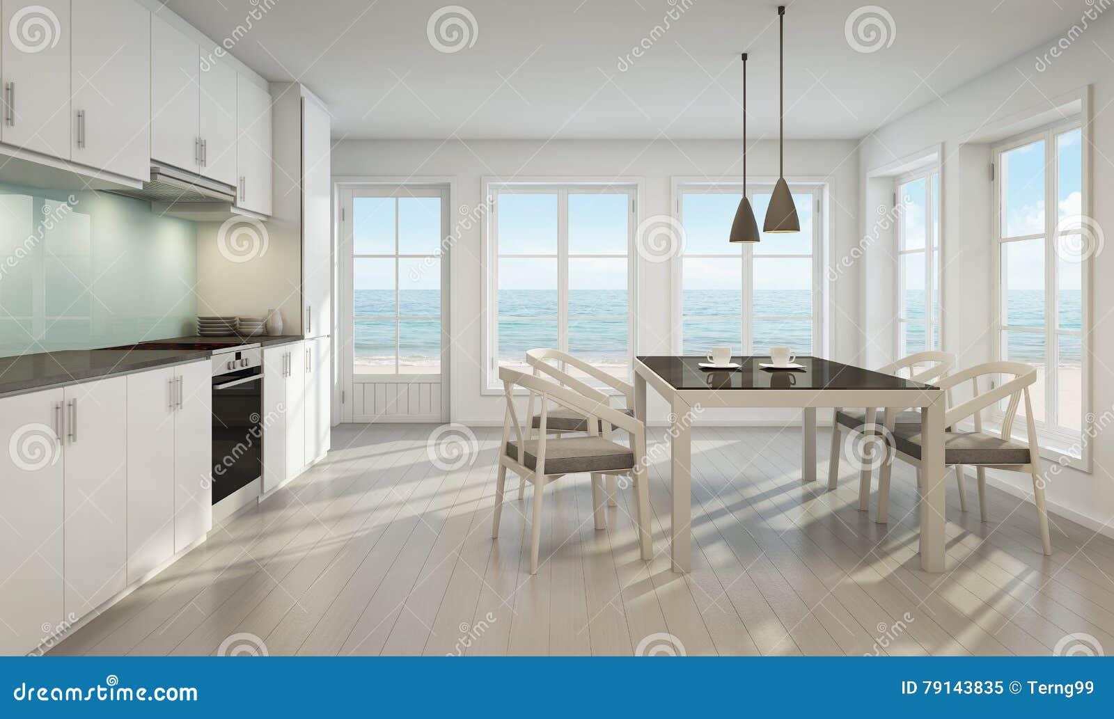 Sala Da Pranzo E Cucina Di Vista Del Mare Nella Casa Di ...