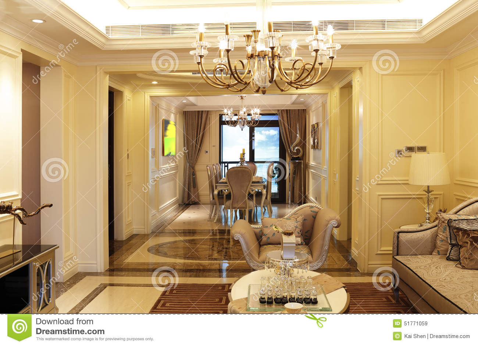 Sala da pranzo e salotto fotografia stock immagine 51771059 for Salotto e sala da pranzo