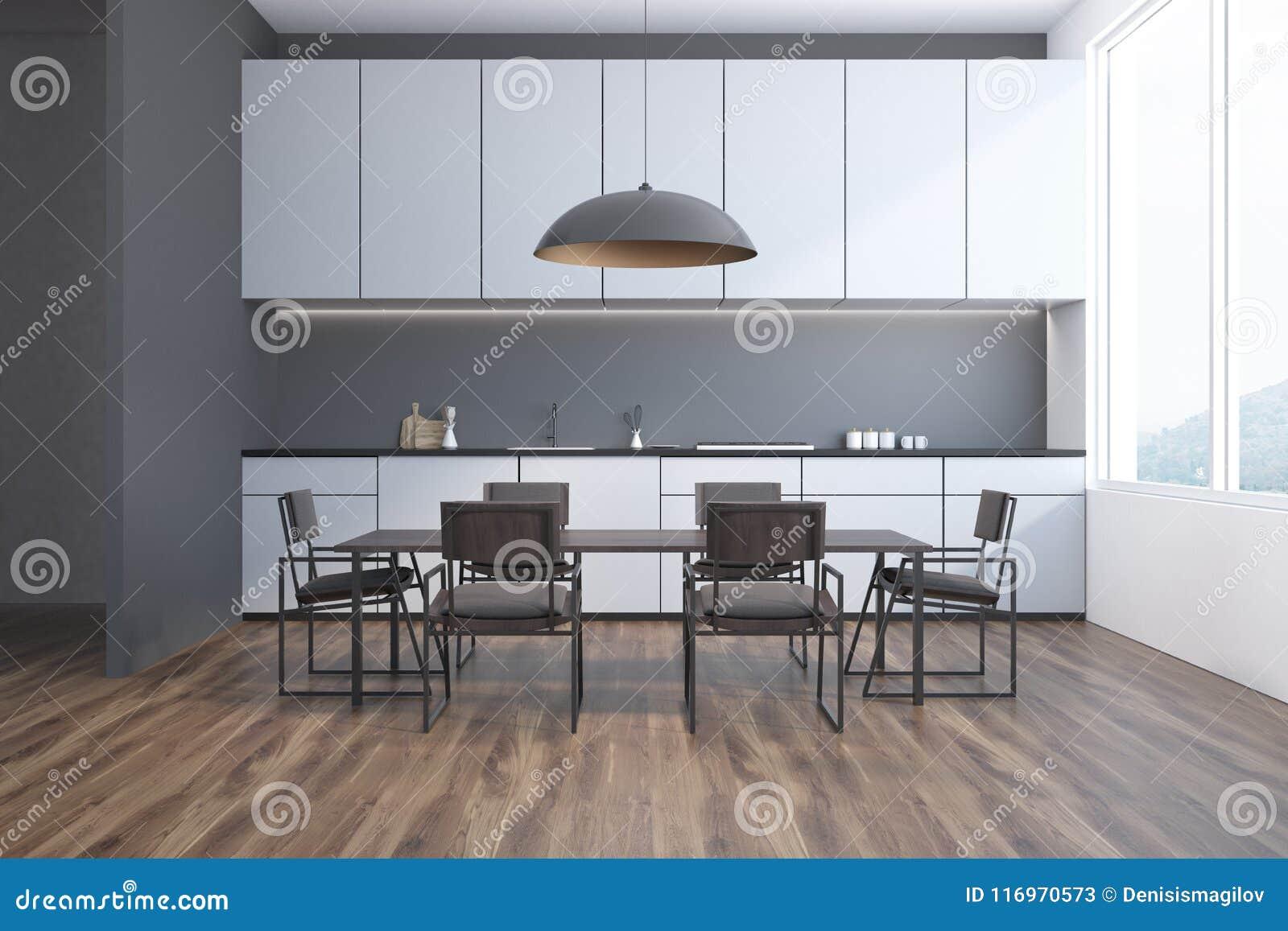 Sala Da Pranzo Grigia E Cucina Interne, Vista Frontale Illustrazione ...