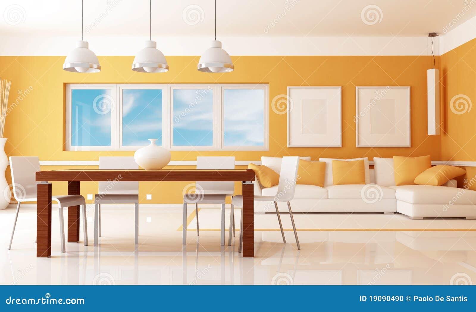 Stanza Arancione Del Dininig Con Il Sofà Di Angolo Rappresentazione  #410E04 1300 870 Sala Da Pranzo Modello Regina