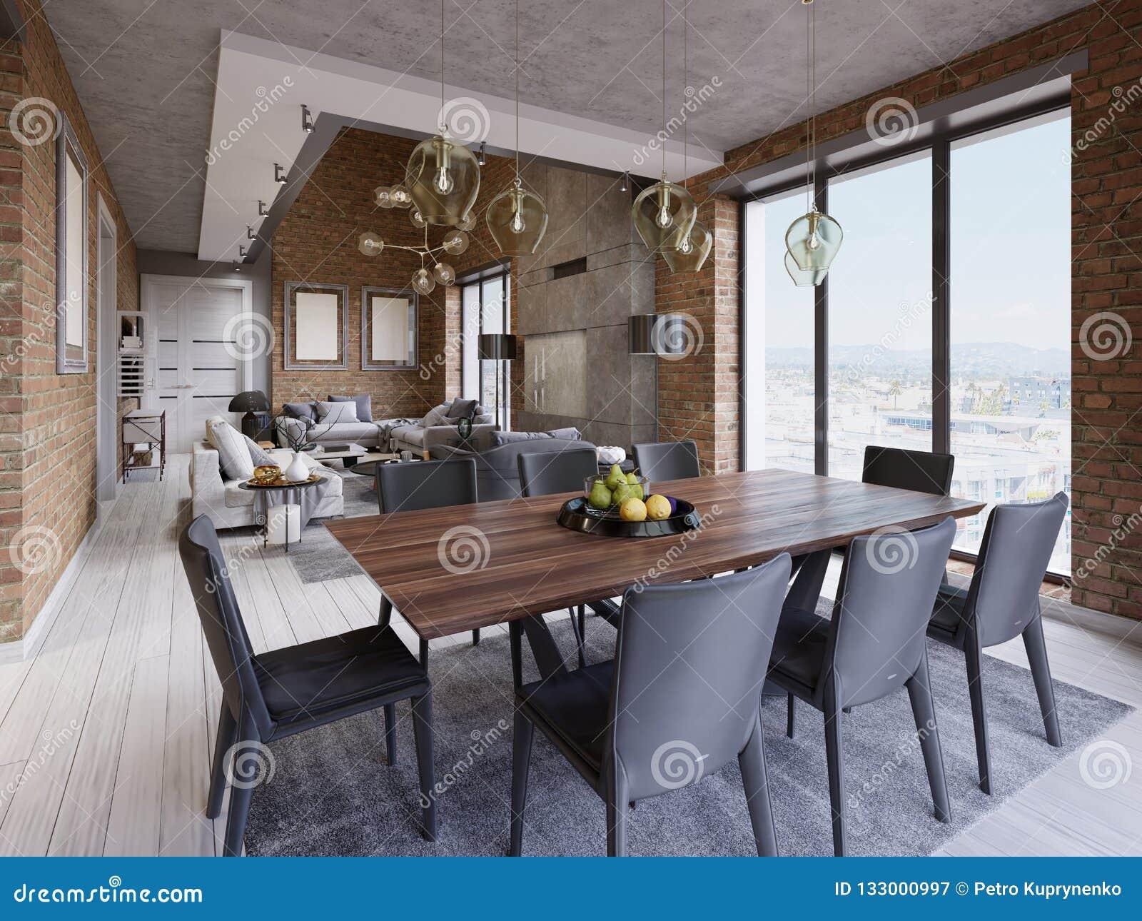 Il Tavolo Da Cucina.Sala Da Pranzo Moderna Con Il Tavolo Da Pranzo Ed Otto Sedie In Un
