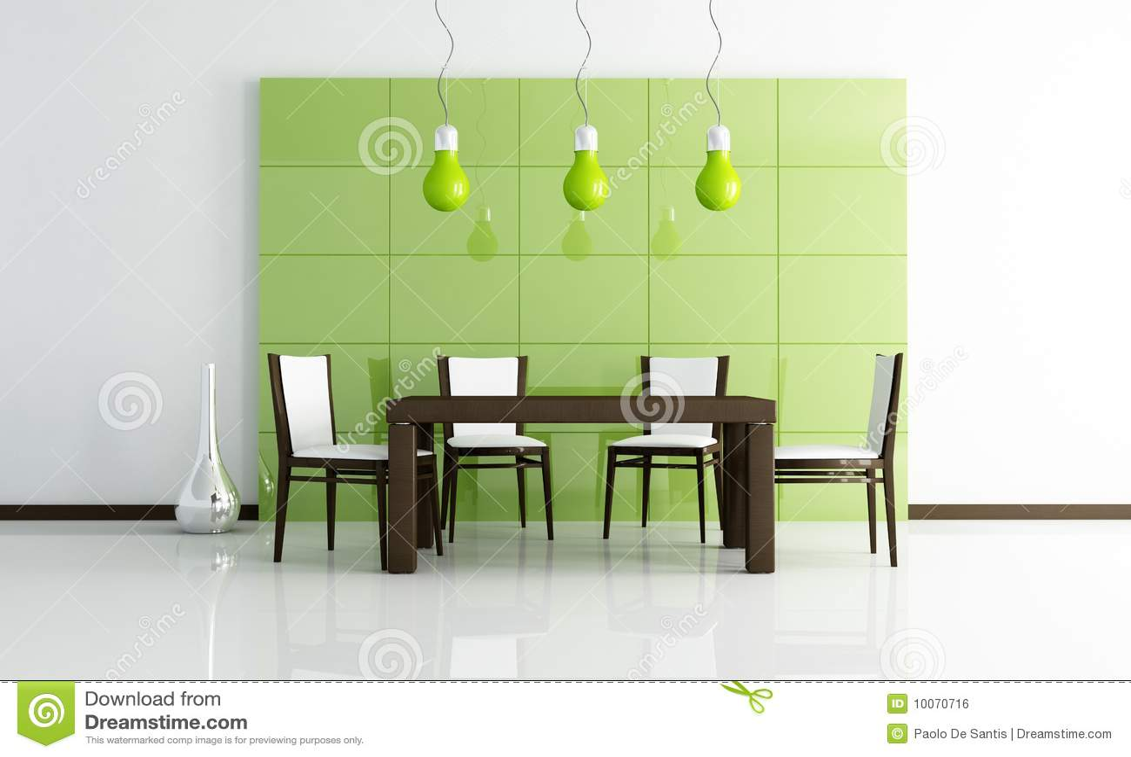 Sala da pranzo moderna verde con la tabella di legno fotografia stock immagine di pranzare - Lampadario sala da pranzo ...