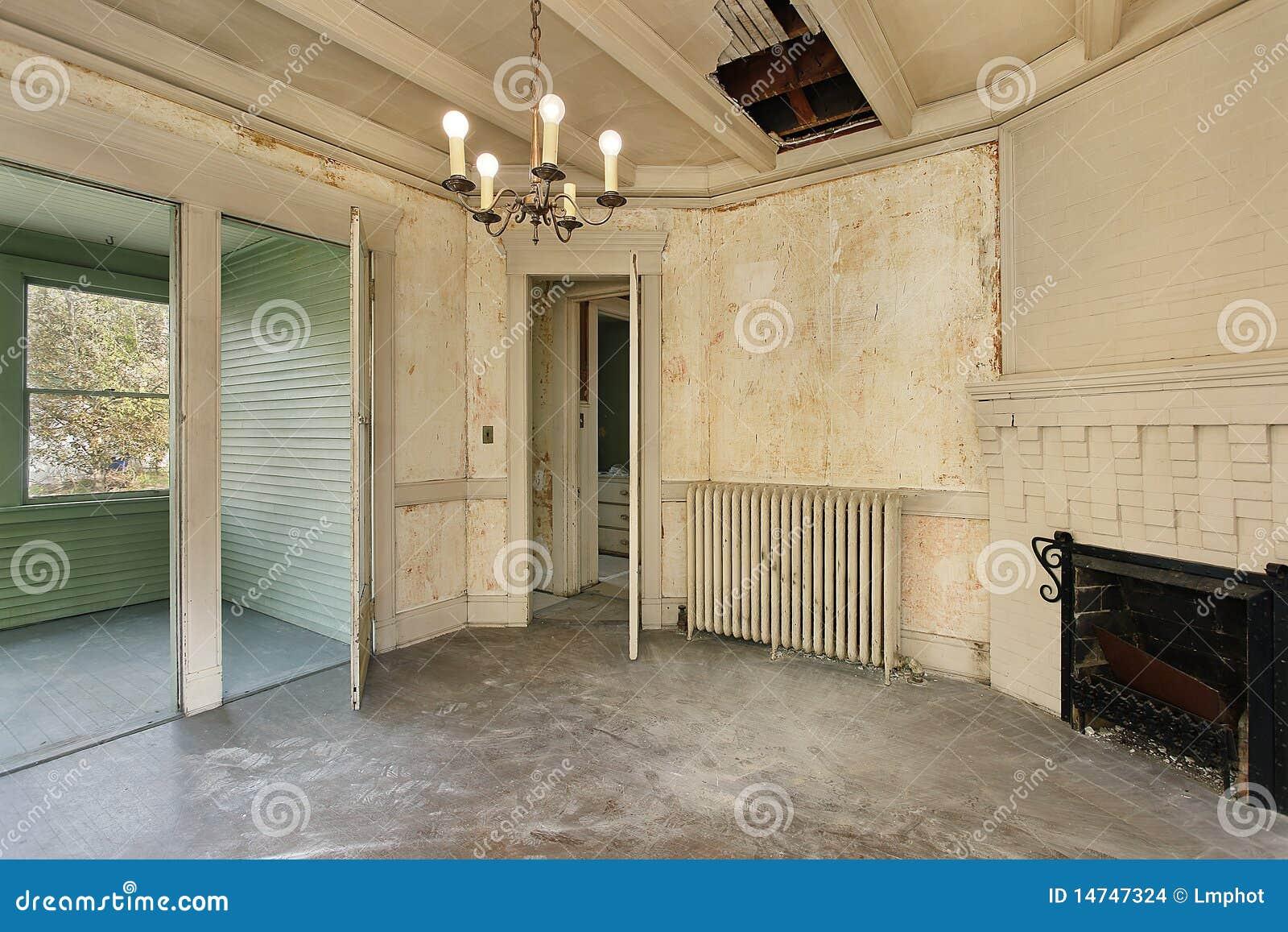 Sala Da Pranzo Nella Vecchia Casa Abbandonata Fotografia
