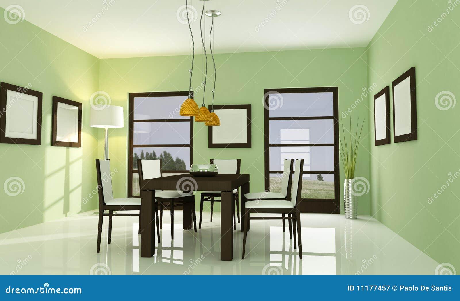 Sala Da Pranzo Verde Contemporanea Fotografia Stock Libera Da Diritti  #B78614 1300 870 Sala Da Pranzo Arte Contemporanea