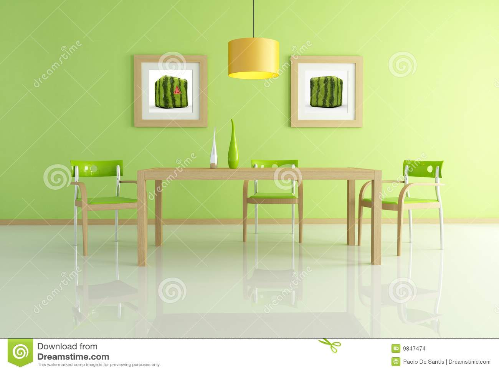 Sala da pranzo verde contemporanea illustrazione di stock illustrazione di arancione wooden - Stanza da pranzo contemporanea ...
