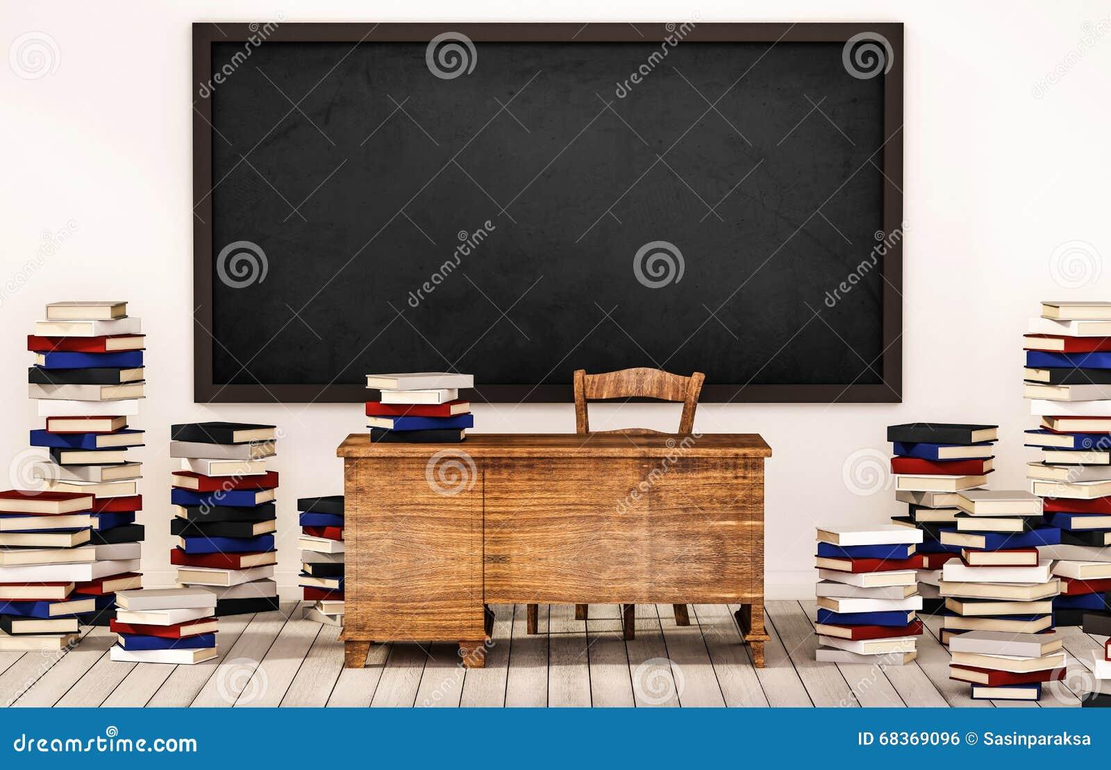 Sala de aula, quadro-negro na parede branca com tabela, cadeira e pilhas dos livros no assoalho de madeira, 3d rendido