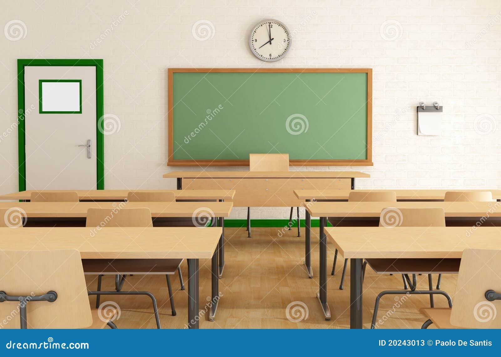 Sala de aula sem estudantes