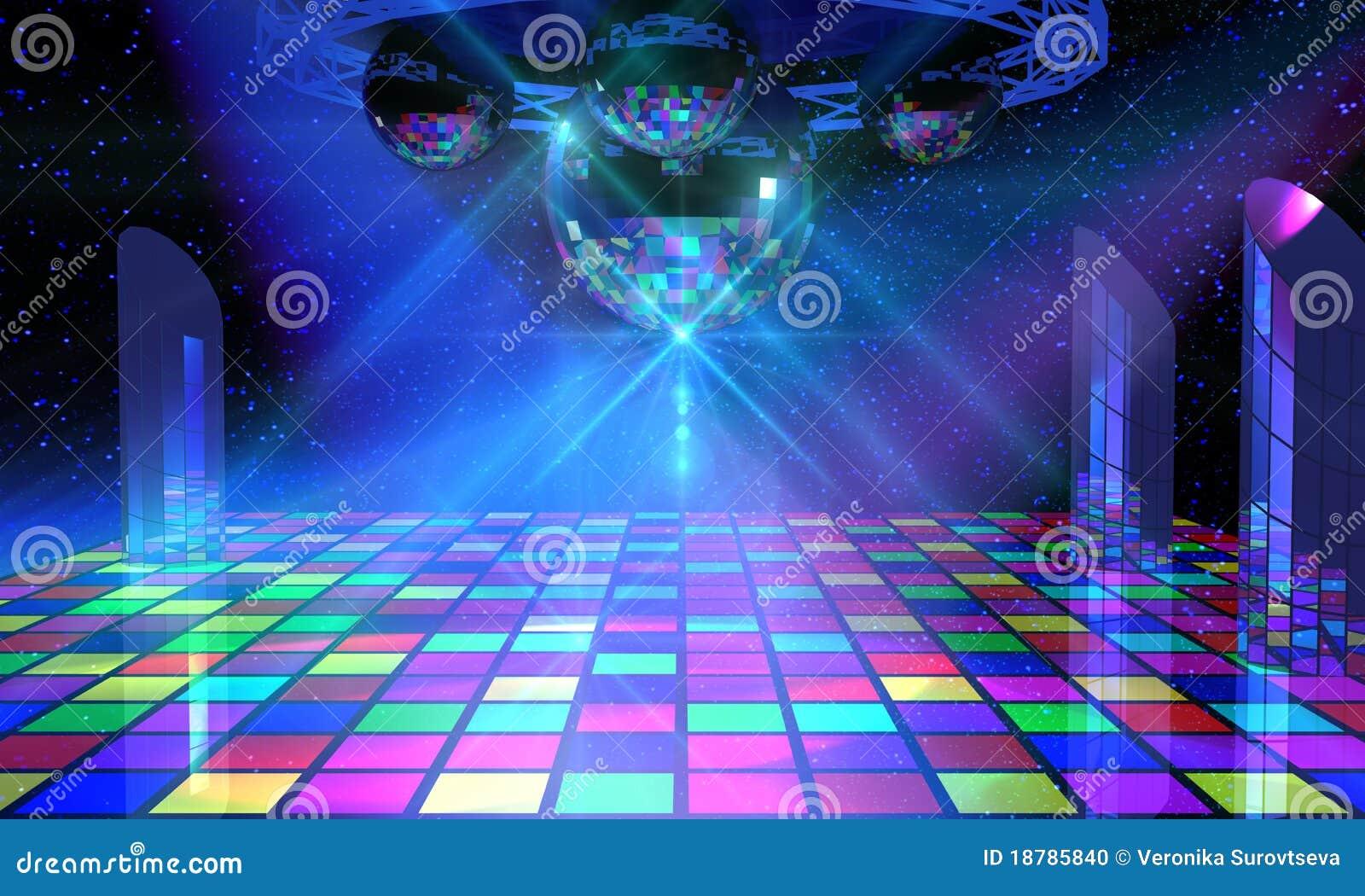 Sala de baile colorida con varios espejo brillante b