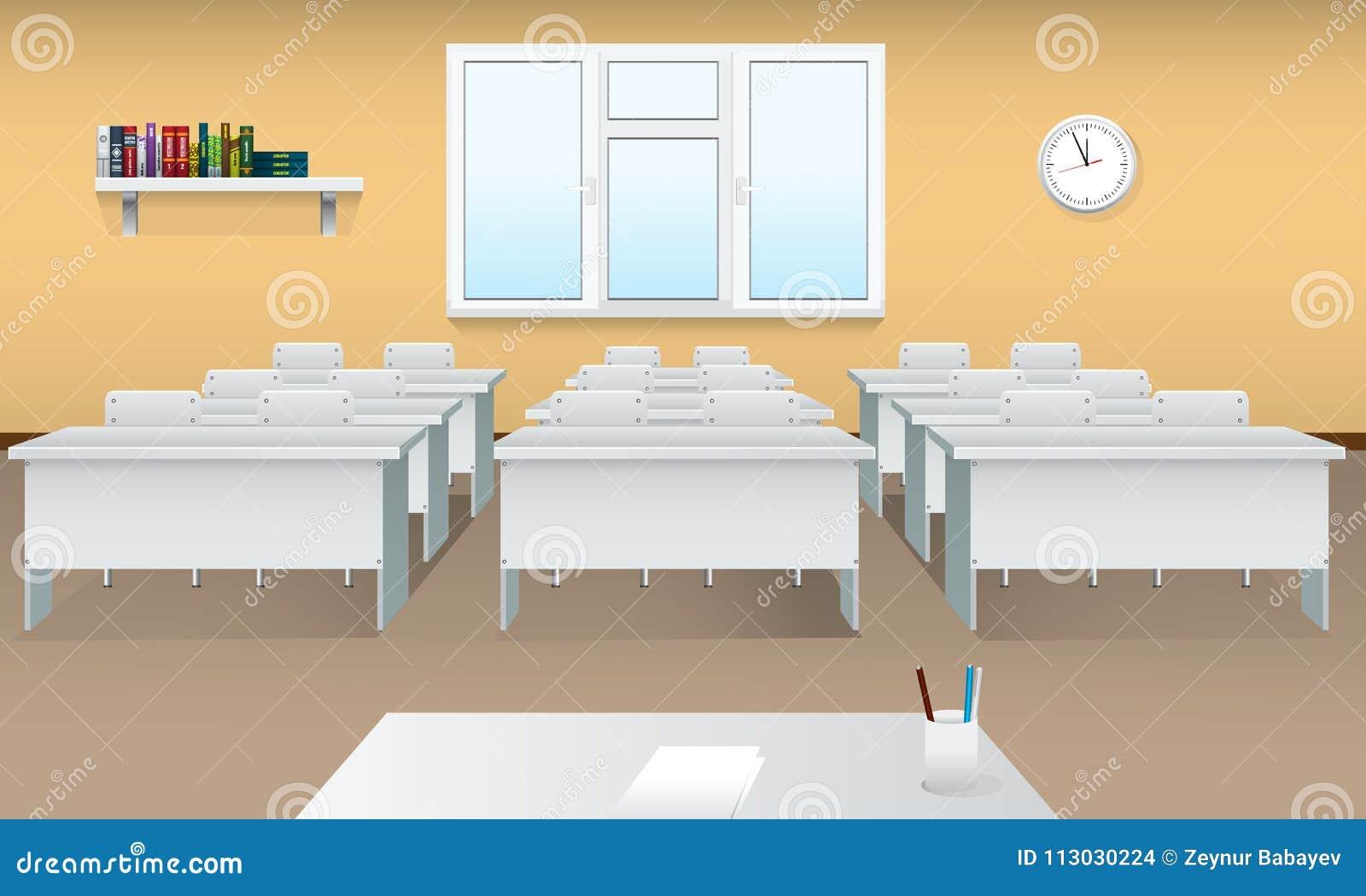 Sala de clase vacía de la escuela Interior realista de la sala de clase con la ventana grande y la vista delantera Sala de reunió