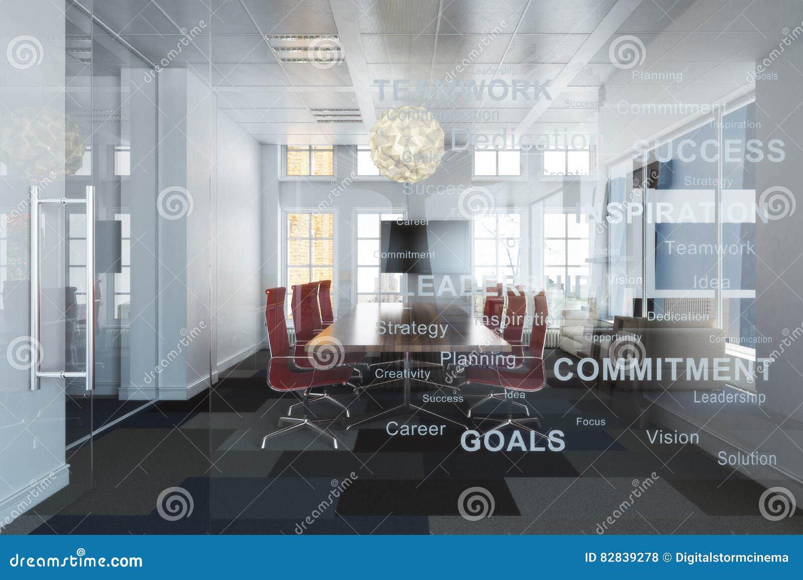 Sala de conferências alta do escritório da elevação do negócio vazio contemporâneo executivo que negligencia uma cidade