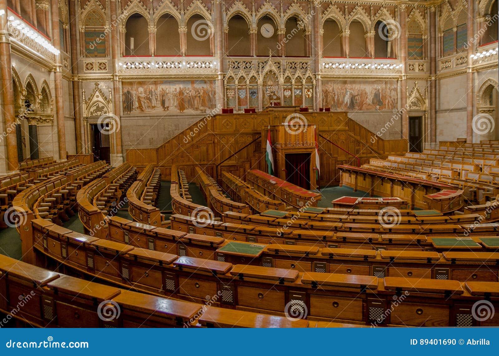 Sala de conferências no parlamento de Budapest, Hungria