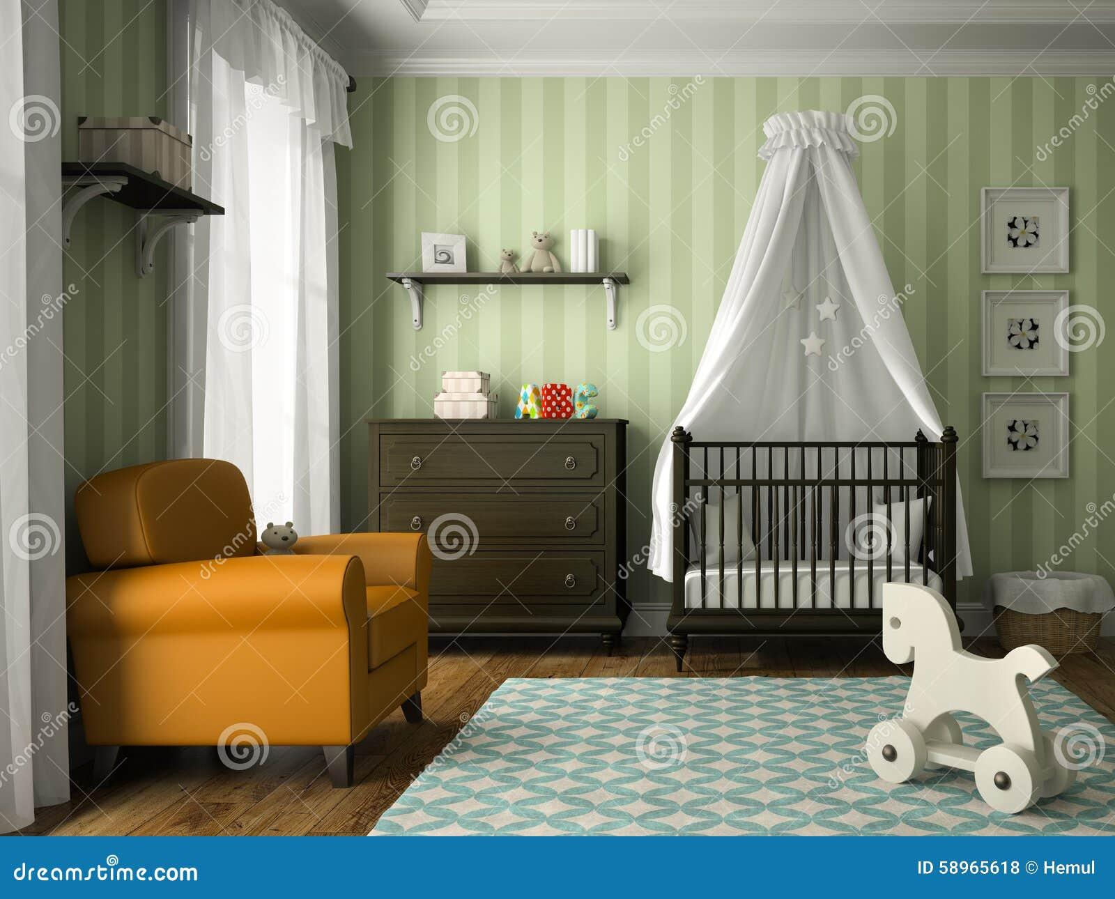 Sala De Crian As Cl Ssica Com A Parede Verde Das Listras Ilustra O  -> Parede Sala Listrada