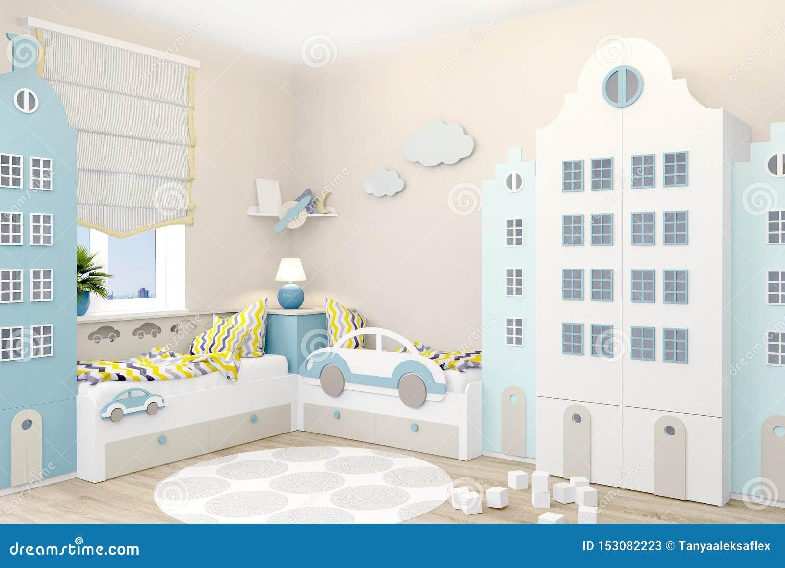 A sala de crianças para dois meninos no estilo escandinavo Vestuário sob a forma das casas de Amsterdão