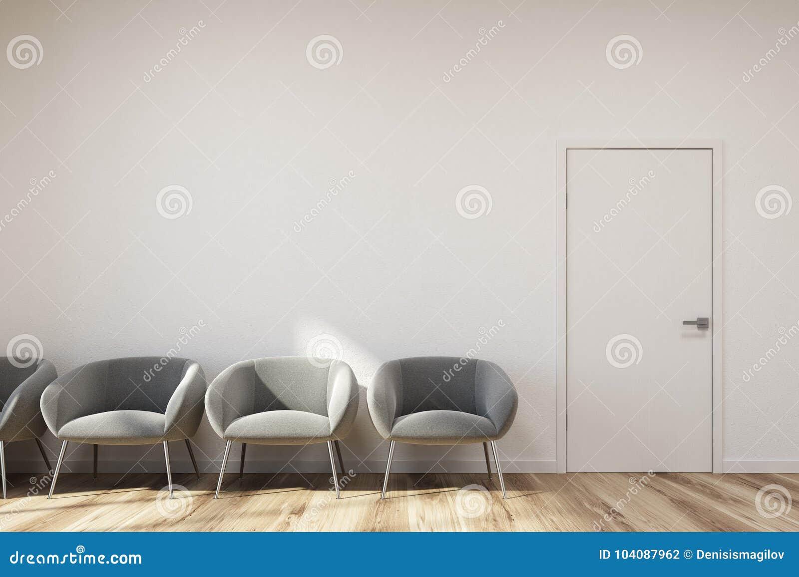 Sillas Para Sala De Espera Precios.Sala De Espera Blanca Sillas Grises Stock De Ilustracion