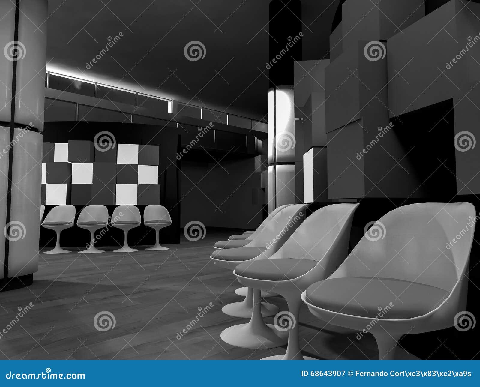 Sala de espera con las sillas en hospital, sitio limpio con formas adentro