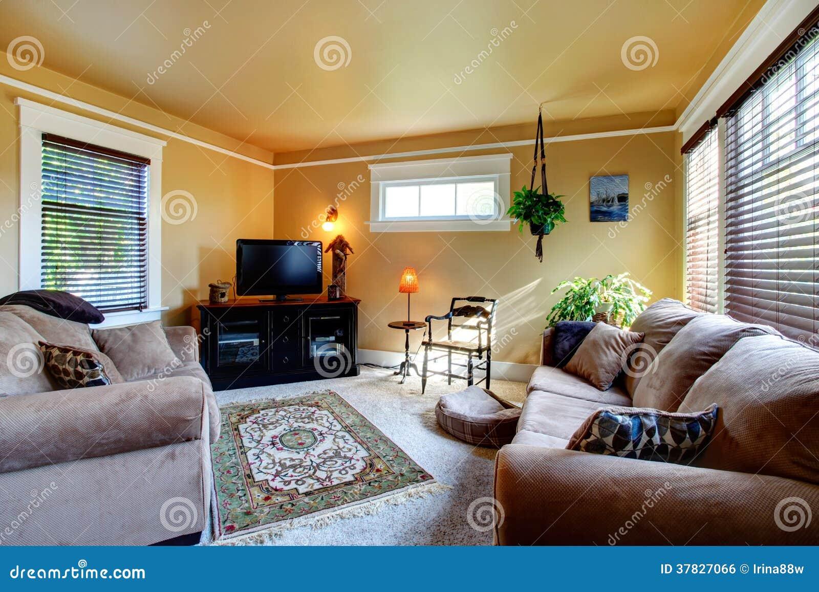 Sala de estar acogedora con el sof y la tv imagen de for Sala de estar con tv