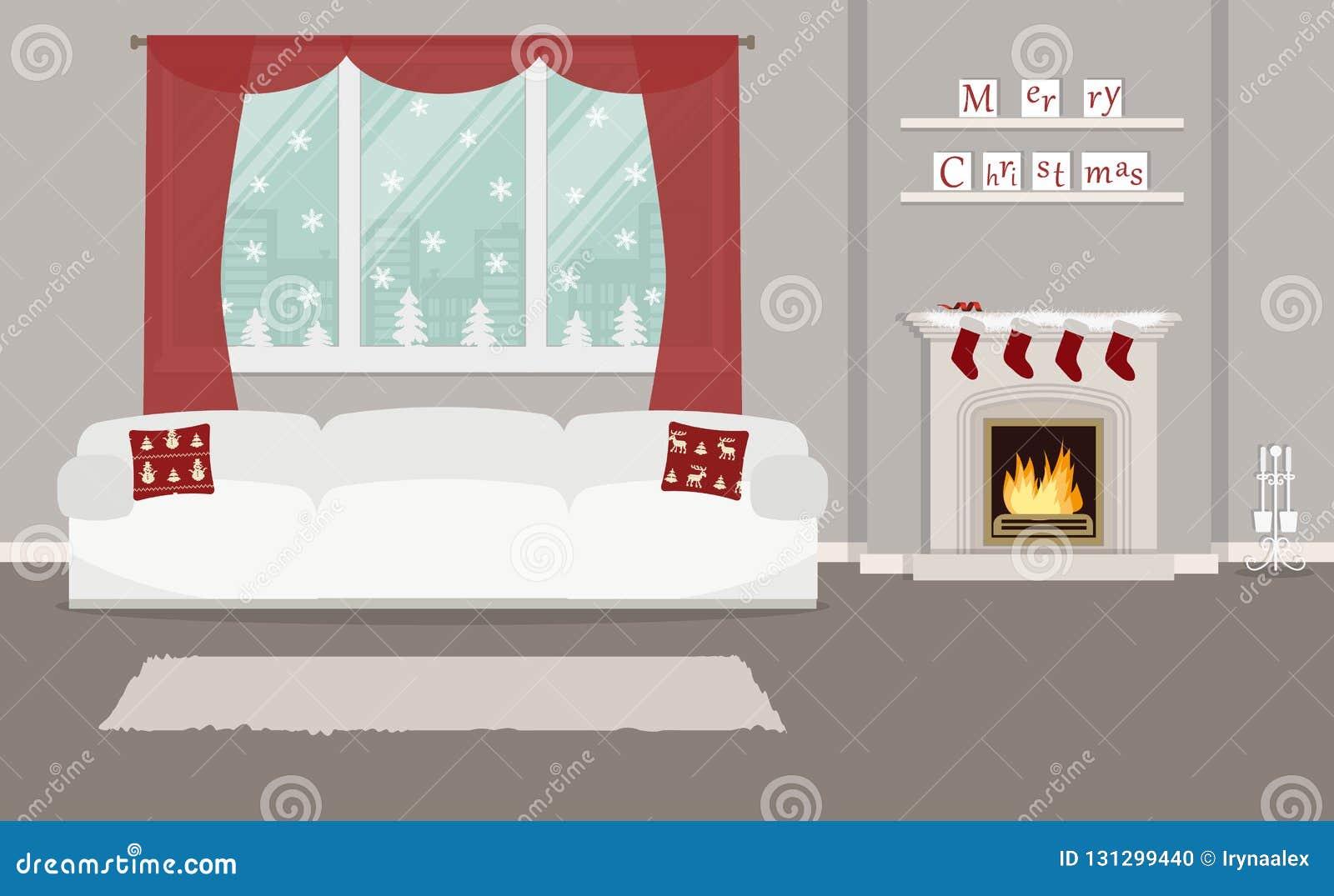 Sala De Estar, Adornada Con La Decoración De La Navidad Ilustración ...
