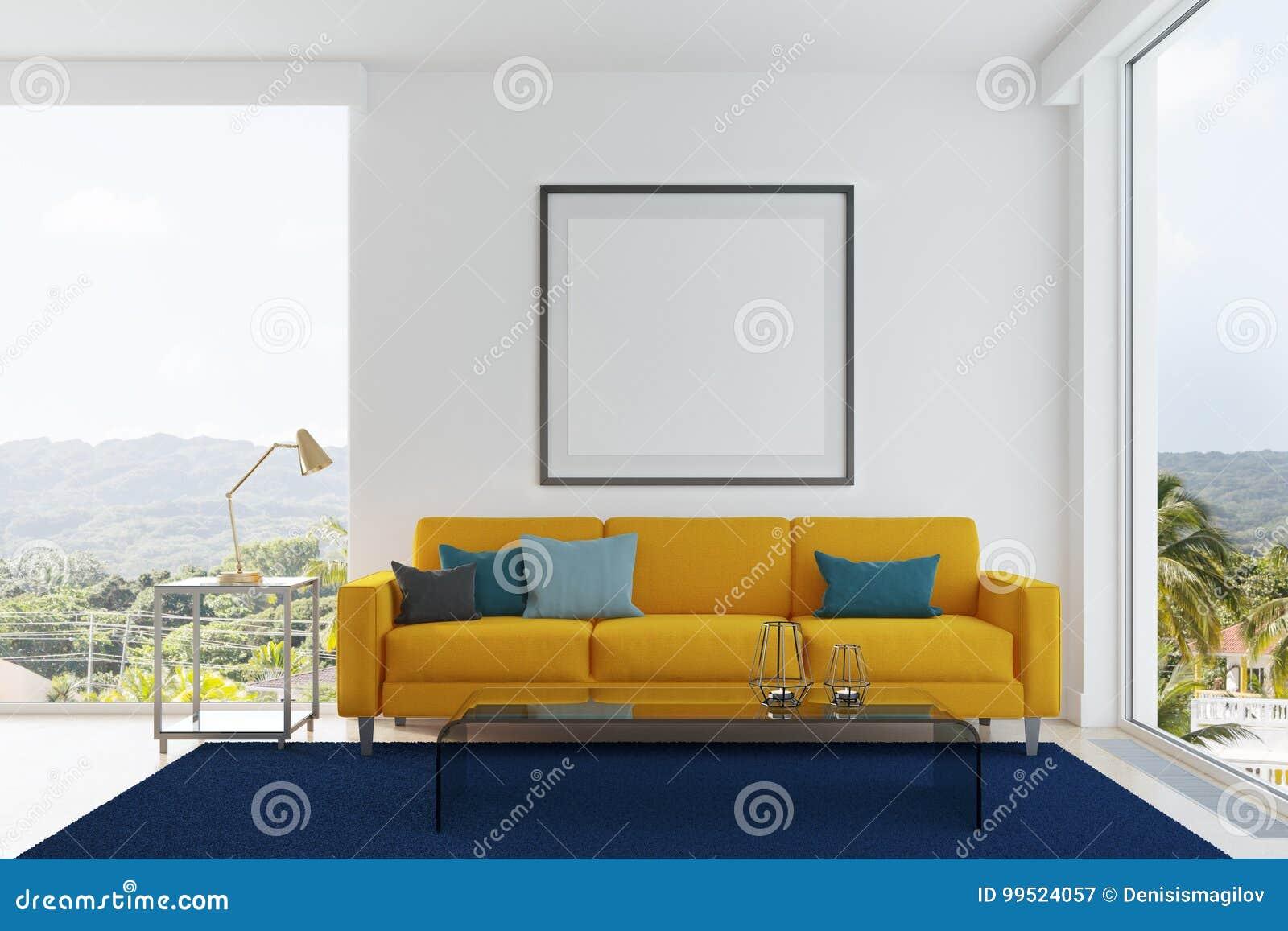 Sala De Estar Amarilla Del Sofá Azul Y Verde De Las