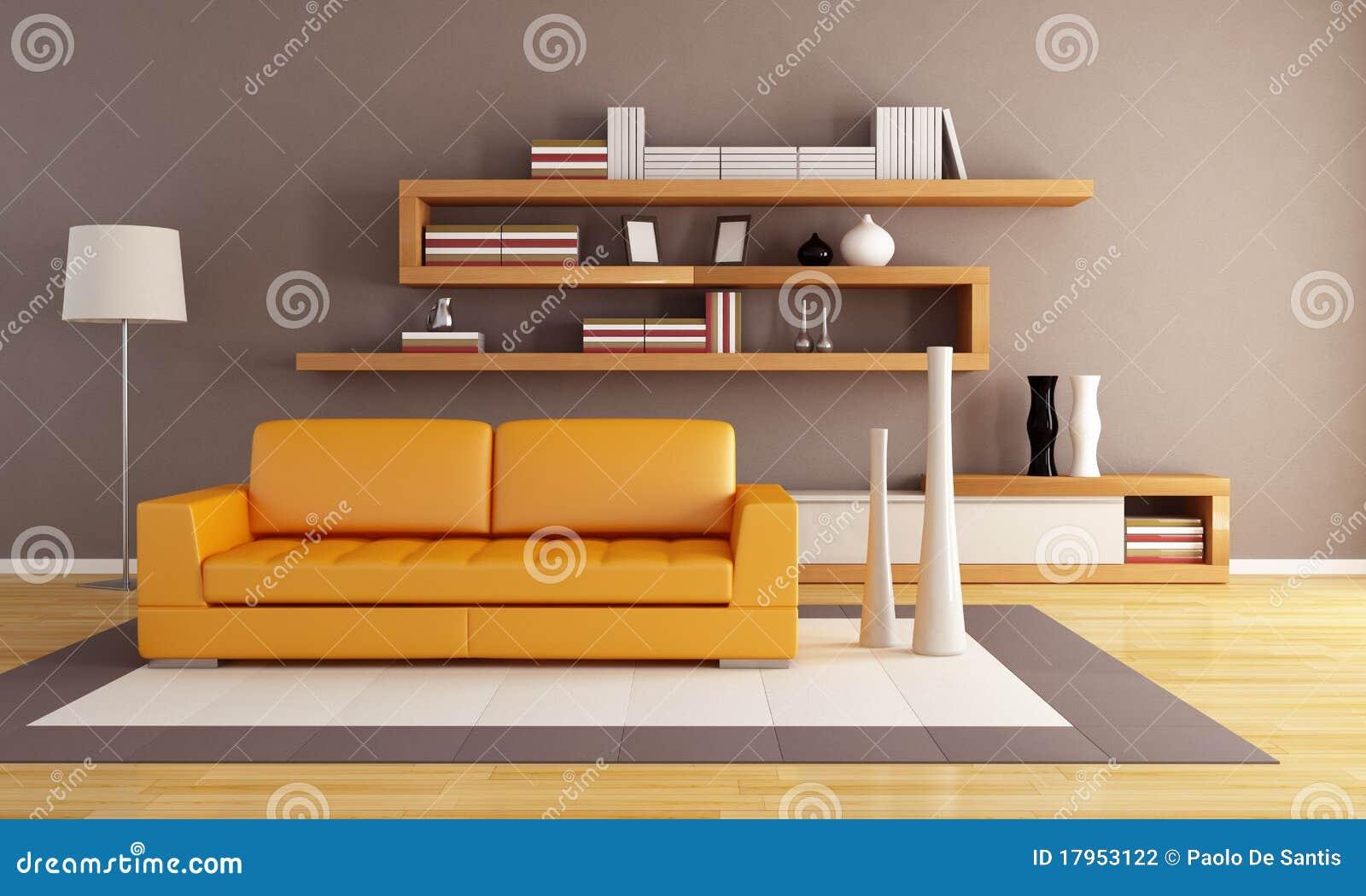Sala de estar anaranjada y marr n fotograf a de archivo for Sala de estar marron