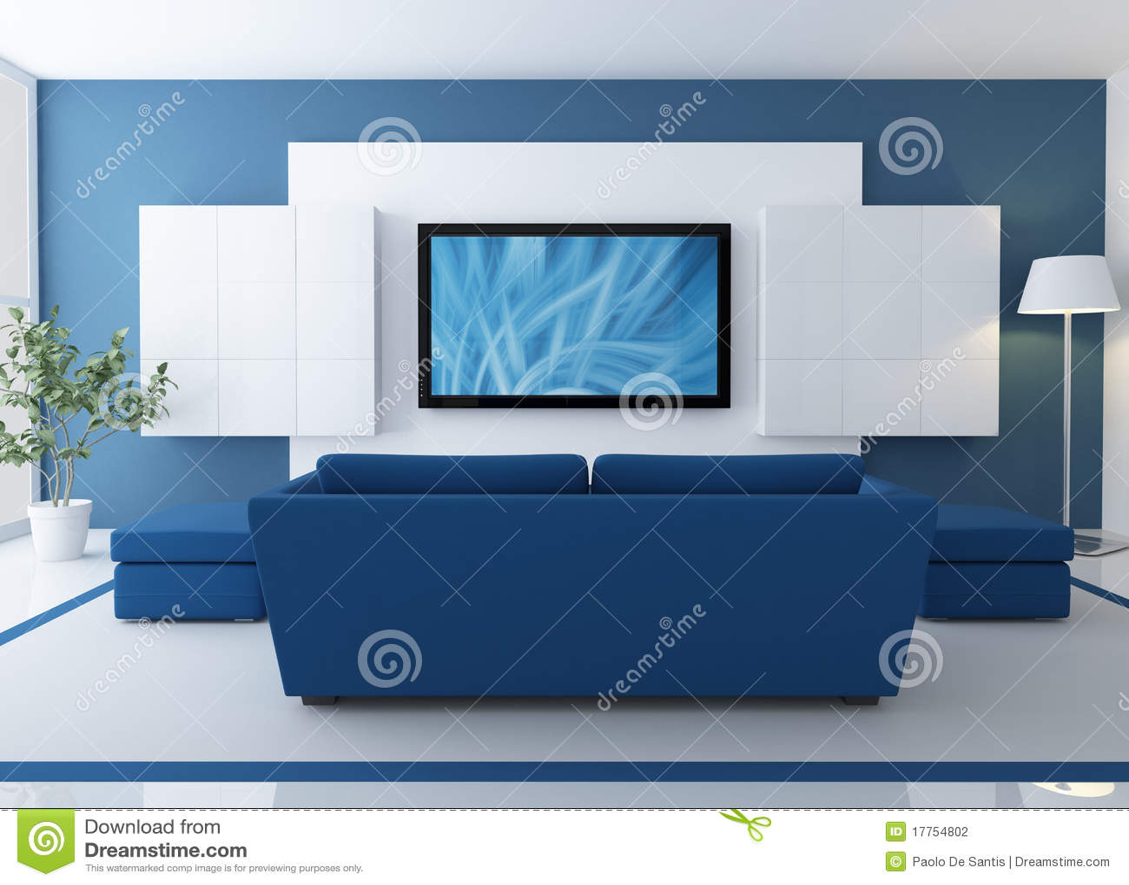 Sala De Estar En Azul ~ Sala De Estar Azul Com Tevê Do Lcd Fotografia de Stock  Imagem