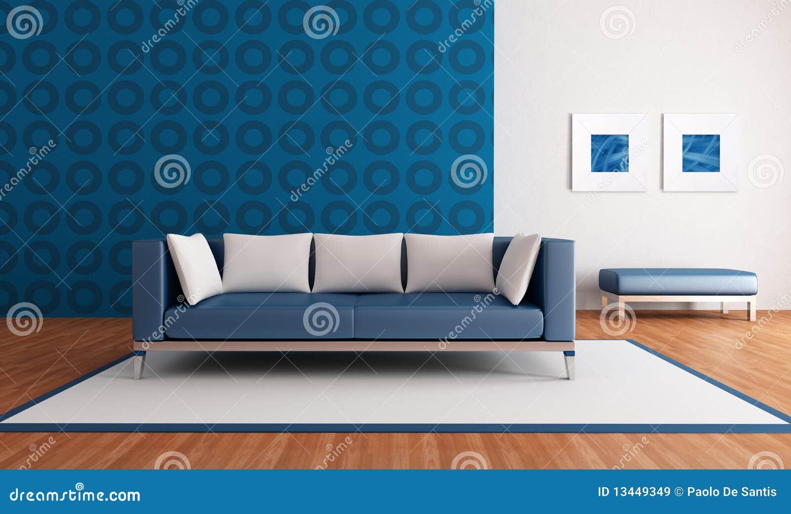 Sala De Estar En Azul ~ Sala de estar azul minimalista com sofá moderno e o papel de parede