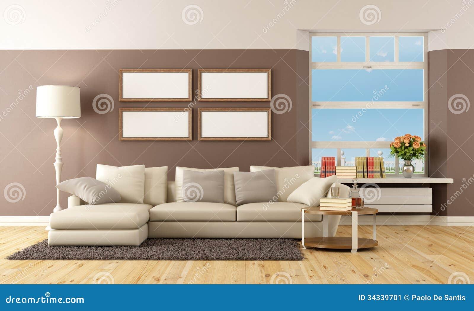 Sala De Estar Marrom Com Vermelho ~ Sala De Estar Bege E Marrom Imagem de Stock  Imagem 34339701