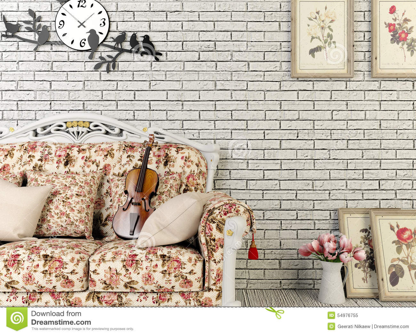 Sala de estar blanca del estilo del vintage con la for Sala de estar retro vintage