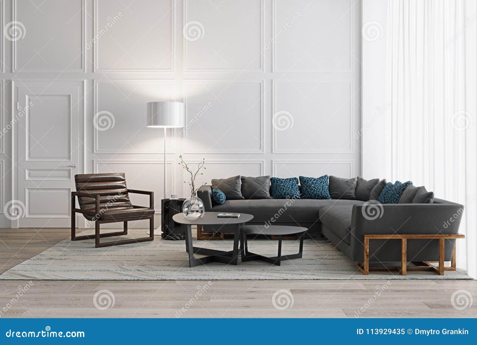 Sala De Estar Blanca En Estilo Escandinavo Con Los Muebles