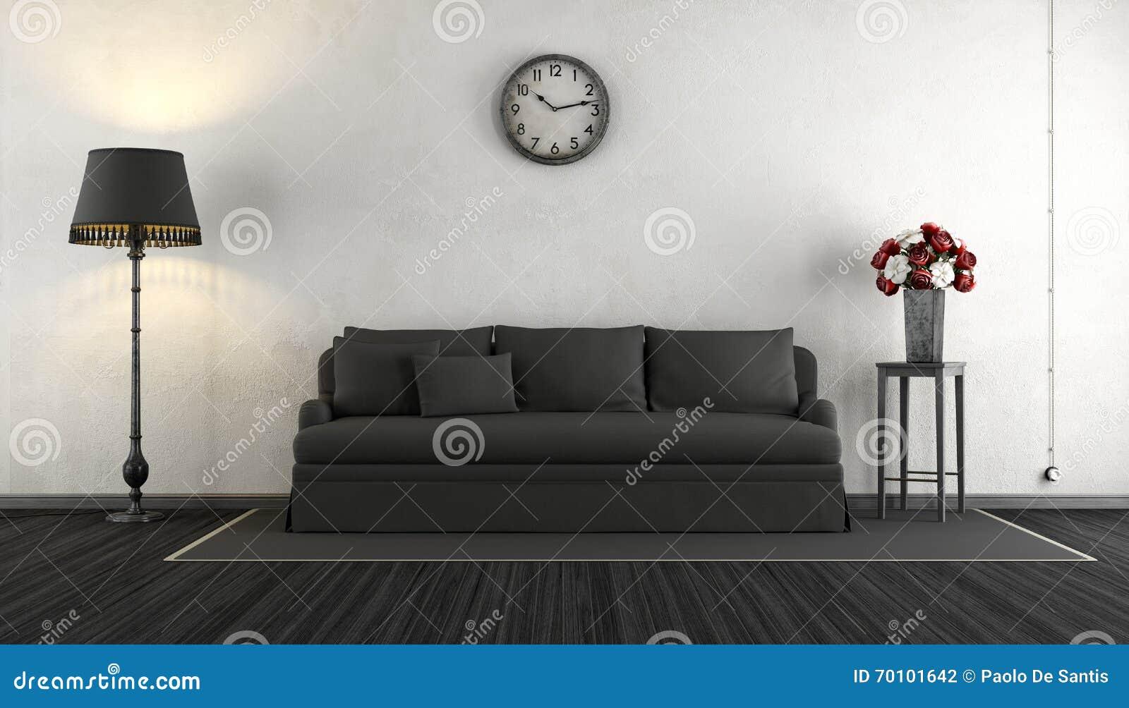 Sala de estar blanco y negro del vintage stock de for Sala de estar blanco y negro