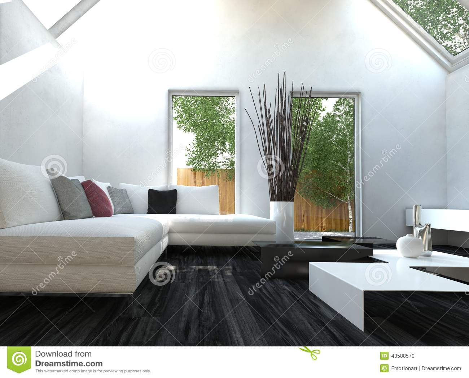 Sala de estar blanco y negro moderna del estilo del dise o for Deco sala en blanco y negro