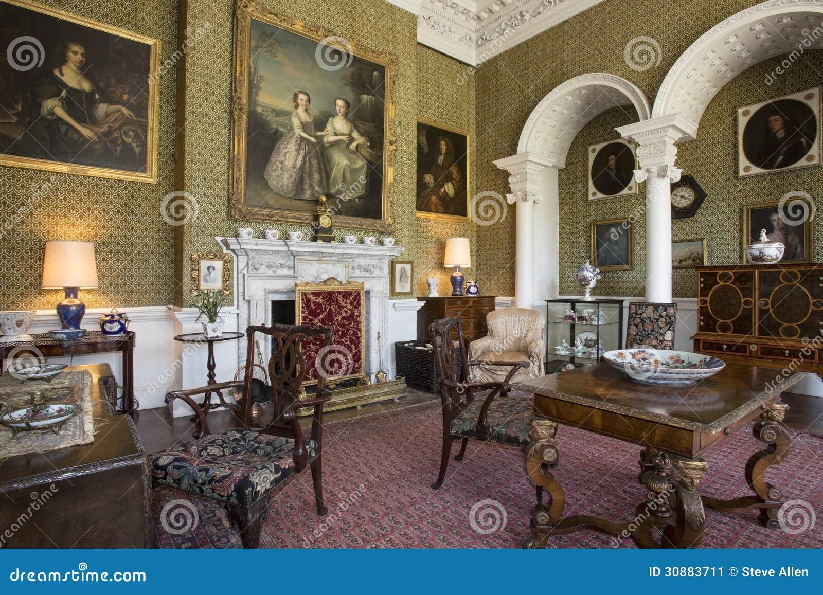 Baños Romanos En Inglaterra:Sala de estar – casa señorial – Yorkshire – Inglaterra Foto editorial