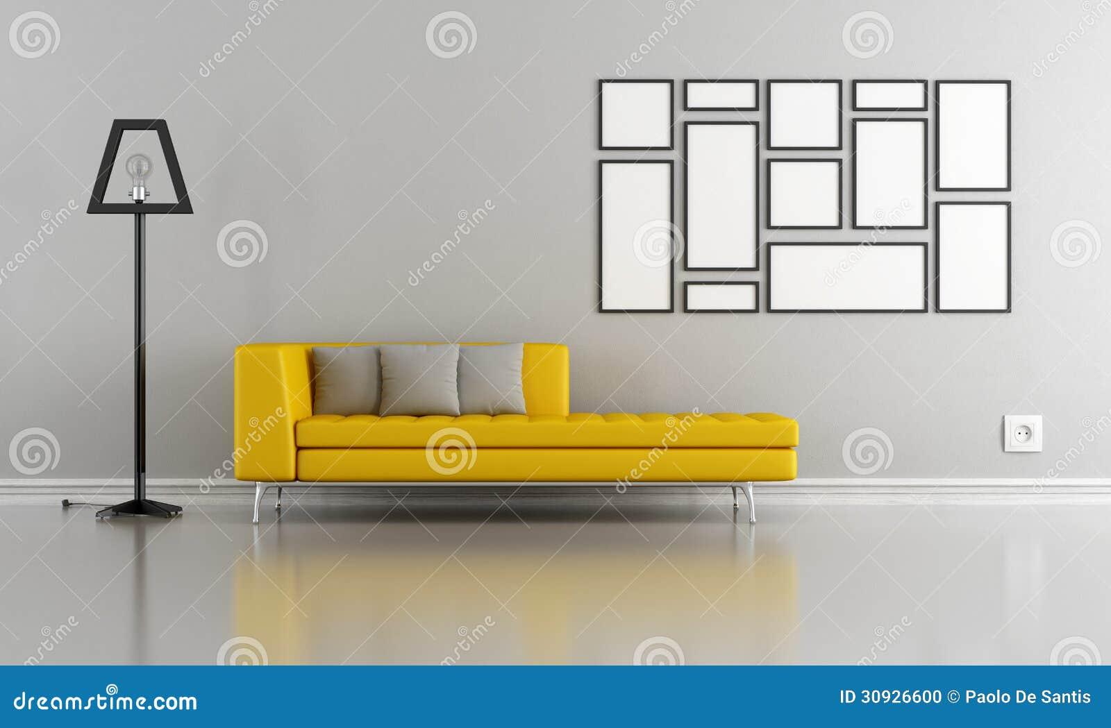 #BE960D Sala De Estar Cinzenta E Amarela Minimalista Foto de Stock Imagem  1300x870 píxeis em Decoração Sala De Estar Amarela