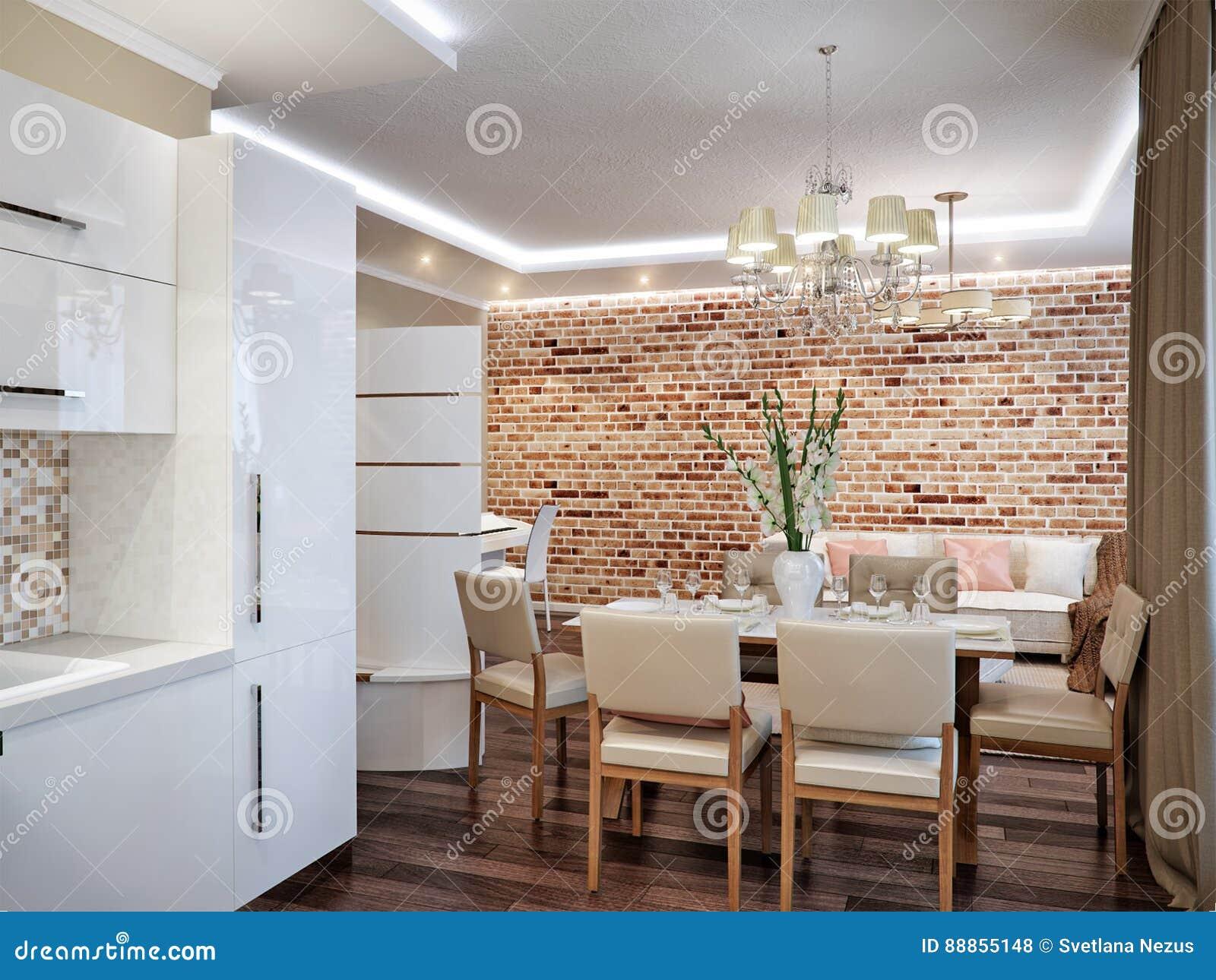 Sala De Estar, Cocina Y Comedor Modernos Stock de ilustración ...
