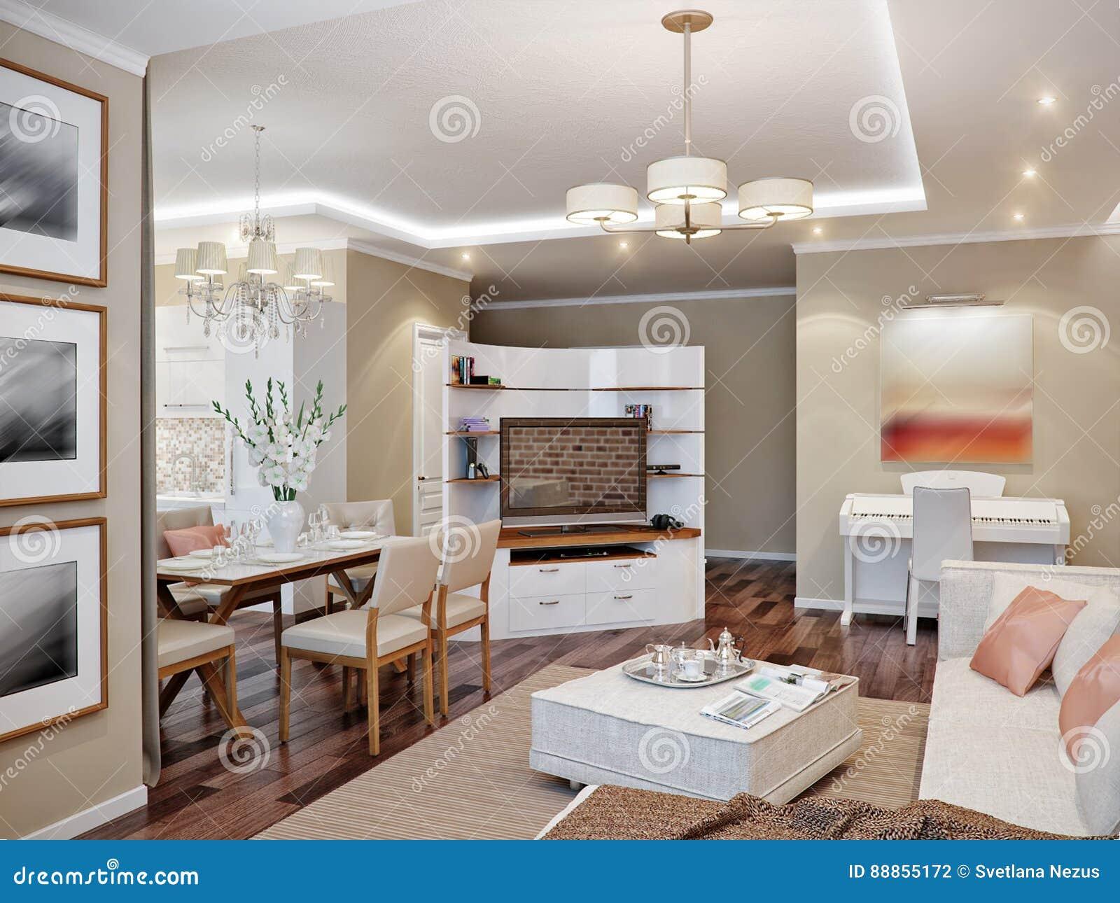 Sala de estar cocina y comedor modernos stock de for Sala de estar estancia cocina abierta