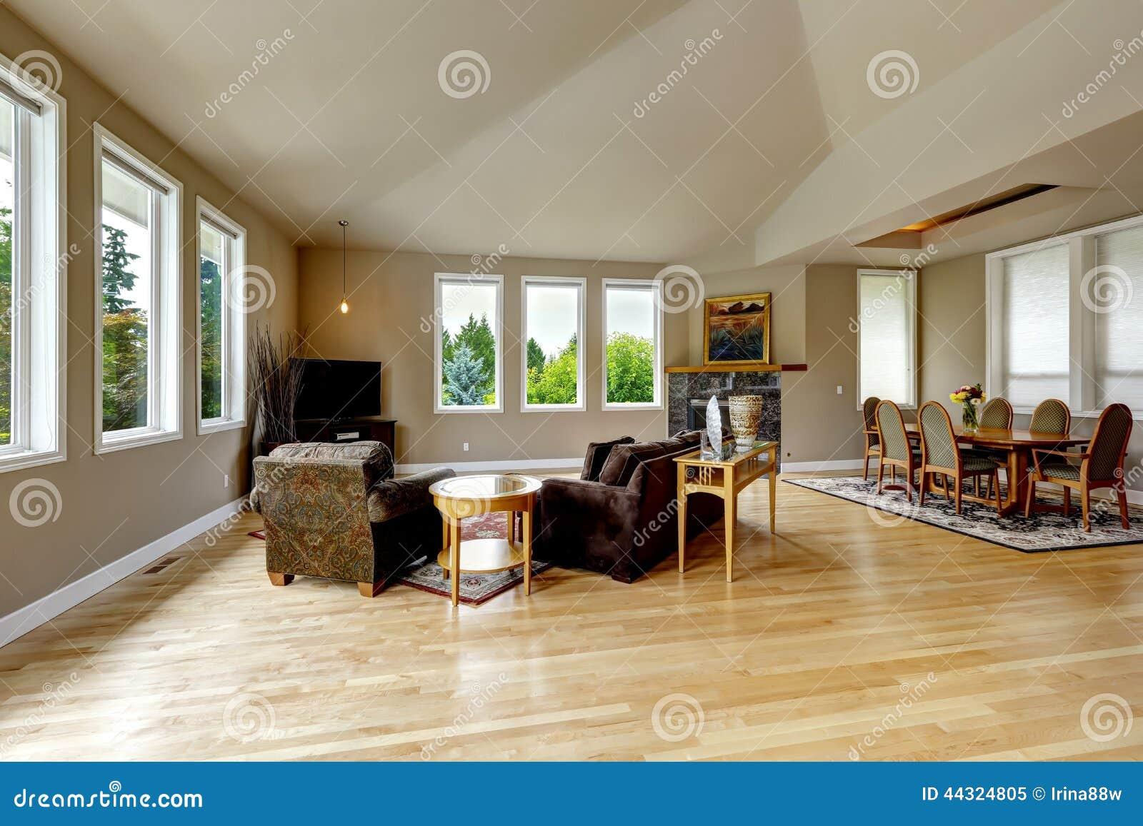 sala de estar con comedor elegante imagen de archivo