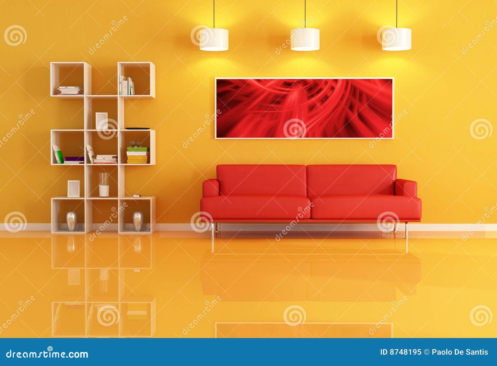 Sala de estar con el estante para libros y el sof de for Sala de estar rojo y blanco