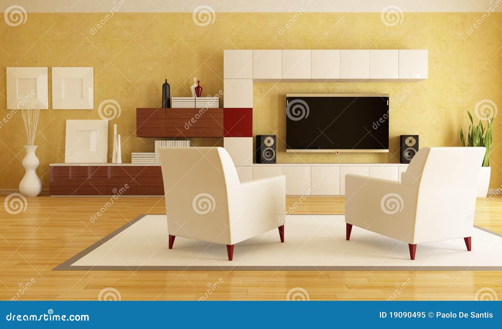 Sala De Estar Junto Con Sala De Tv ~ Sala De Estar Con El Hd TV Foto de archivo libre de regalías  Imagen