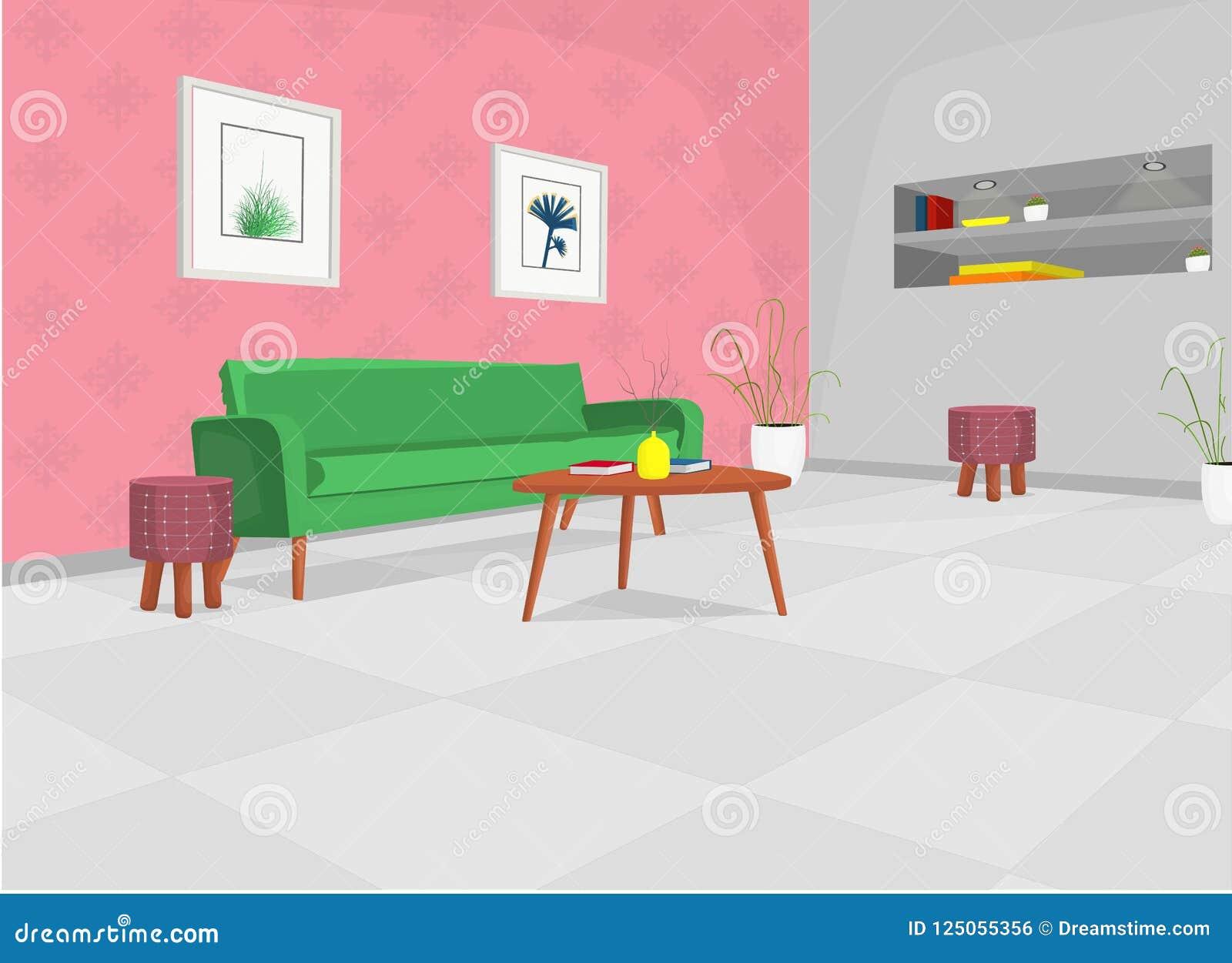 Sala de estar con el sofá verde, tabla, y construido en estantes/sala de estar acogedora del ejemplo de la historieta