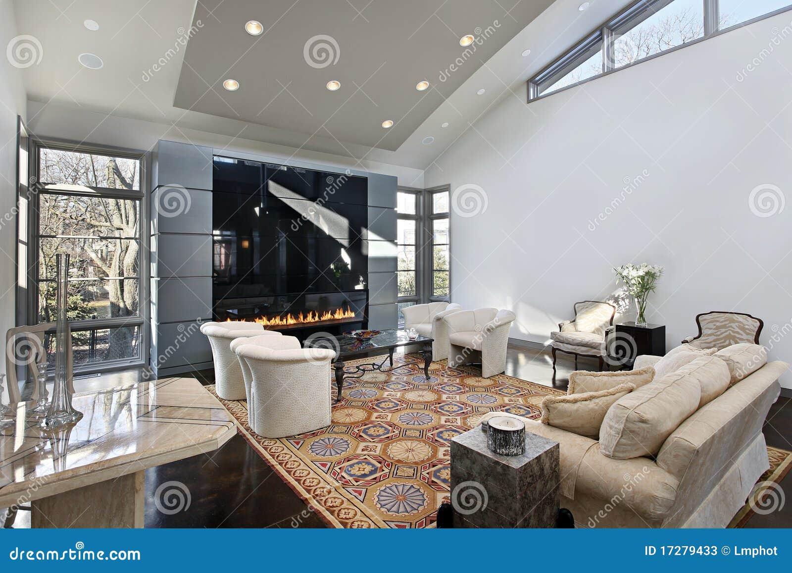 Sala de estar con la chimenea de cristal fotos de archivo - Cristal vitroceramico chimenea ...