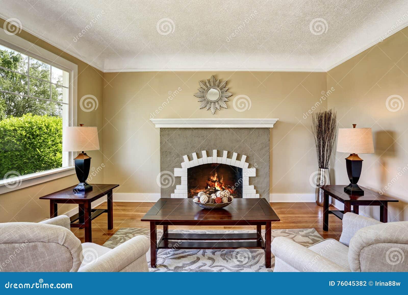 Muebles chimenea sala de estar abierta grande de la - La chimenea muebles ...