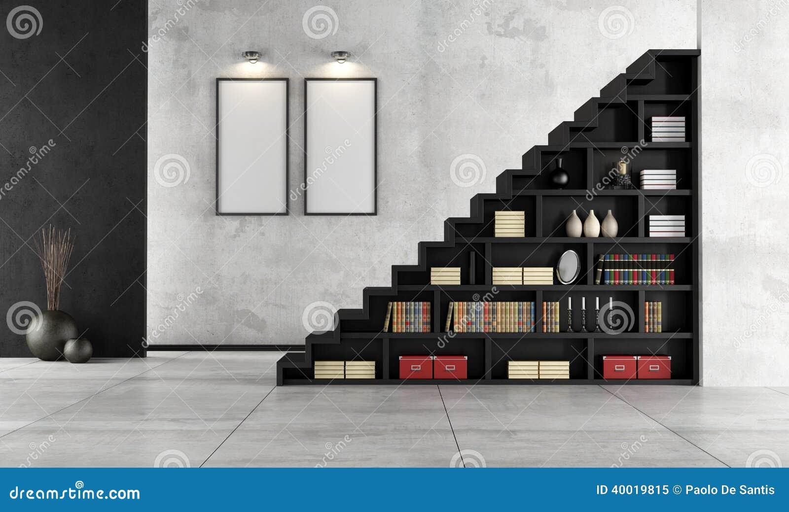 Sala de estar con la escalera y el estante para libros de - Estantes para libros ...