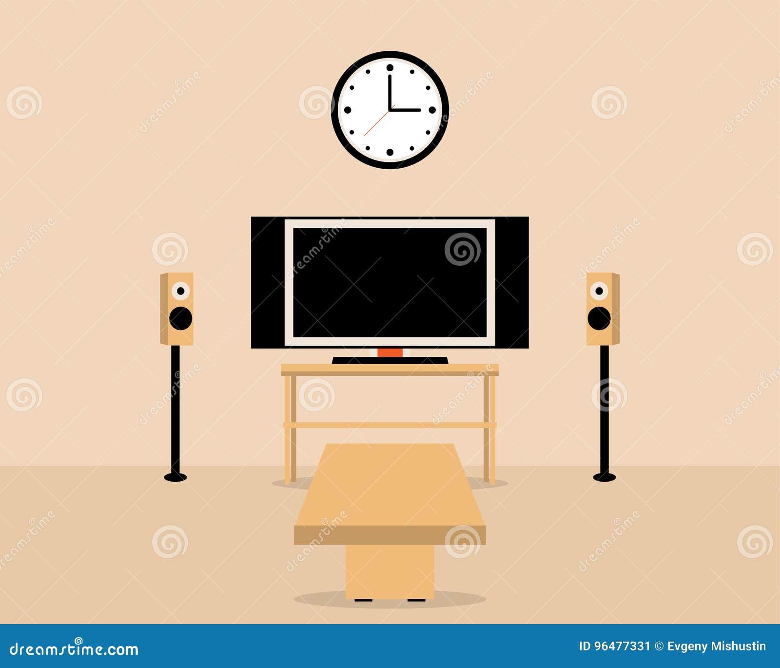 Sala de estar con la tabla y la televisión Interior casero acogedor