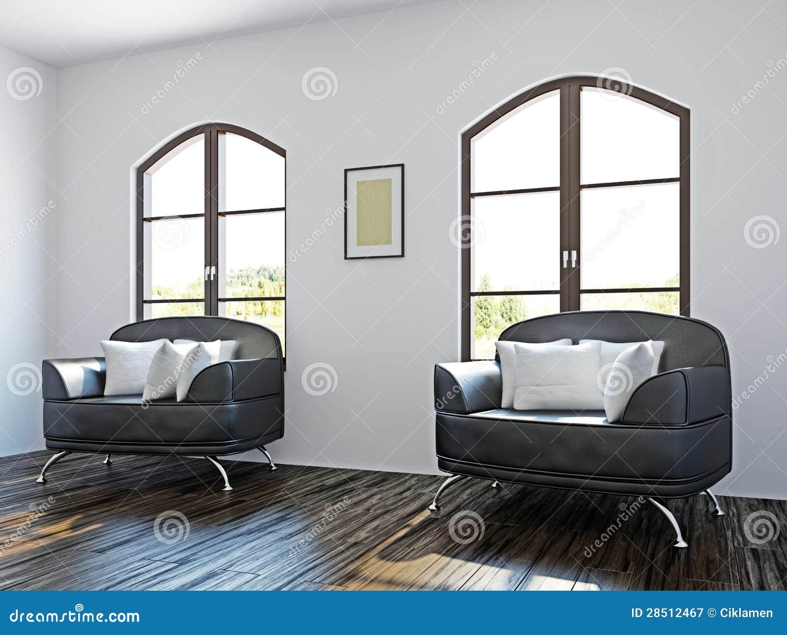 Sala de estar con las sillas negras fotograf a de archivo for Sillas para la sala